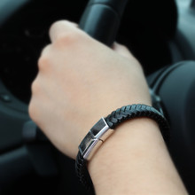 Retro Fashion Men Multilayer Braided Leather Bracelet Stainless Steel Magnetic Clasp Bangles Fathers Day Gift