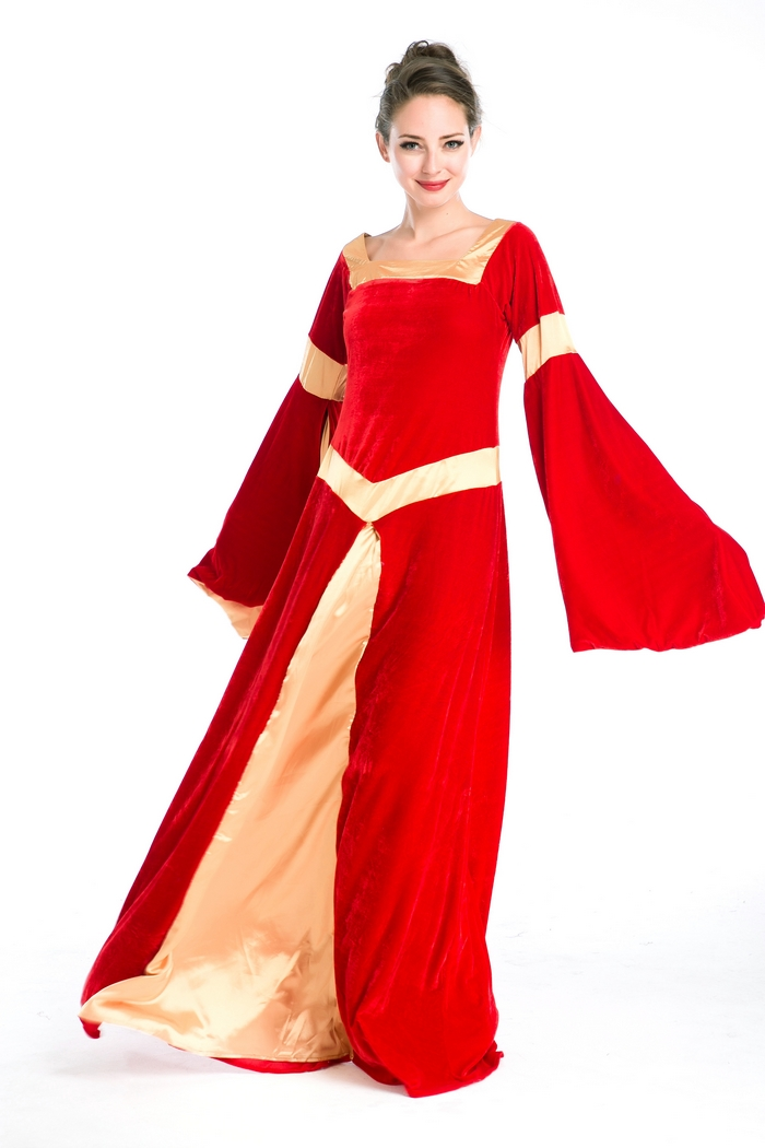 Offre spéciale manches longues luxe rouge robe fantaisie femme cosplay costume robe M4726
