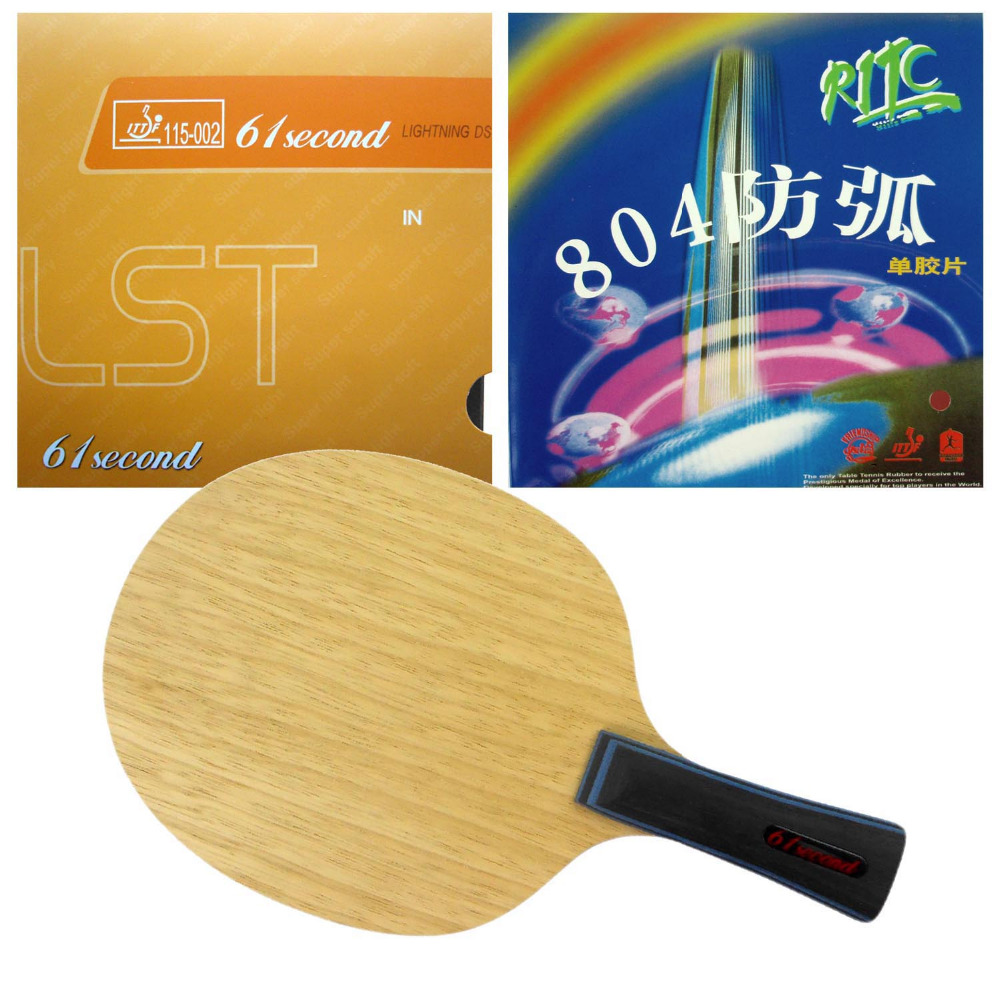 Pro Table Tennis Combo Paddle Racket 61second 3003 with Lightning DS LST and RITC729 804 Long Shakehand-FL with a free full case galaxy yinhe emery paper racket ep 150 sandpaper table tennis paddle long shakehand st