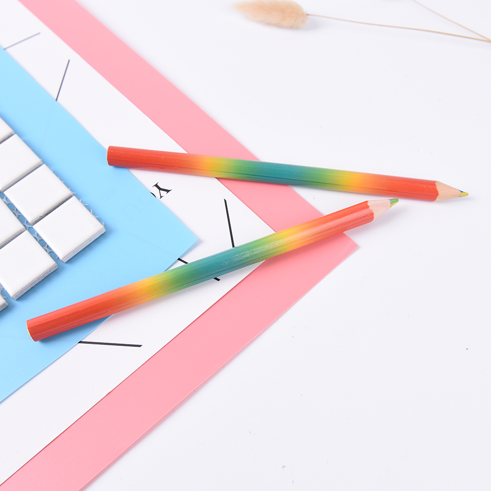 Rless 2pcs Lot Ranbow Color Professionals Fixed Colored Pencils Small Fresh Iridescent Sets Children S Drawing Art