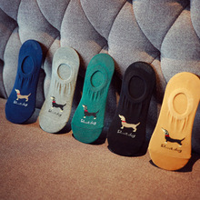 Hot Boat Socks Invisible Non-slip Printed Ankle Cotton Summer Men Breathable Silicone Male Dog