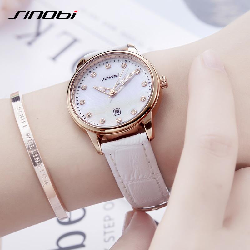 SINOBI Women Quartz Wrist Watch Ladies Leather High Quality Movement Casual Luxury Diamond Waterproof Wristwatch Girl Gift  2019
