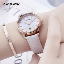 цена на SINOBI Women Quartz Wrist Watch Ladies Leather High Quality Movement Casual Luxury Diamond Waterproof Wristwatch Girl Gift  2019