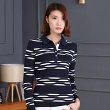 Women Polo Shirts New Design  Peculiar Striped Long Sleeve  M-4XL Plus SizeTurndown Collar Drop Shipping