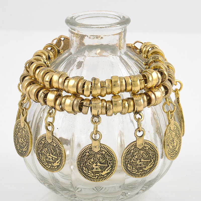Retro Bohemian Turkish Coin Tassel Anti-Silver Antalya Anklet Gypsy Beachy Coachella Tassels vintage Fashion Foot Jewelry