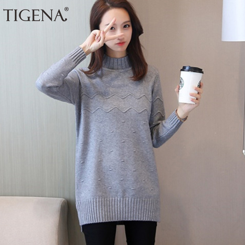 TIGENA Split Turtleneck Sweater Women 2019 Winter Long Sleeve Knit Jumper Women Pullovers and Sweaters Female Pull Femme Pink