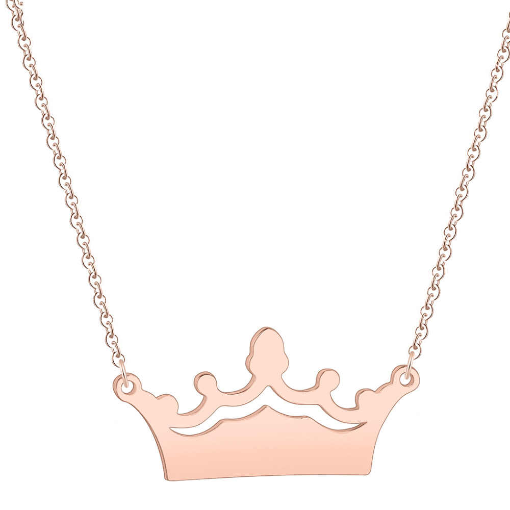 QIAMNI Trendy Princess Crown Pendant Necklace Collars Stainless Steel Jewelry Birthday Wedding Engagement Gift for Women Girls