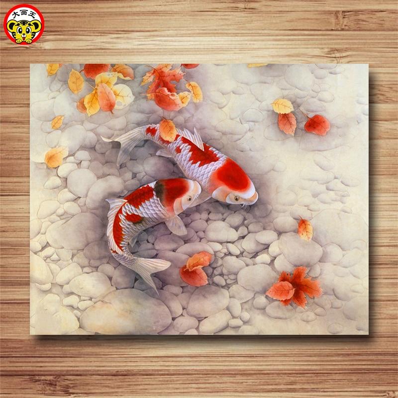 Pintura por números arte pintura por número pescado 40*50 cm de aceite digital Diy pintura dibujo para colorear por número mano pintada foto