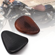 for Harley Custom Chopper Bobber Leather Saddle Seat 1pcs Motorcycle Retro Brown/Black Crocodile Style Solo