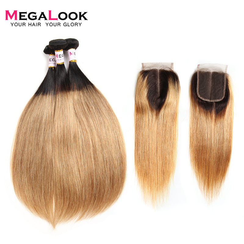 Megalook Ombre Bundles With Closure 3pcs Brazilian Remy Straight Hair Bundles With Lace Closure Color 1B/27