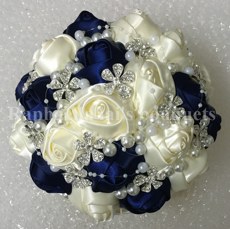 Popular navy ivory color silk stitch wedding bouquet diamond flower popular navy ivory color silk stitch wedding bouquet diamond flower pearl handmake bridal holding flower wedding decoration w224 in artificial dried mightylinksfo