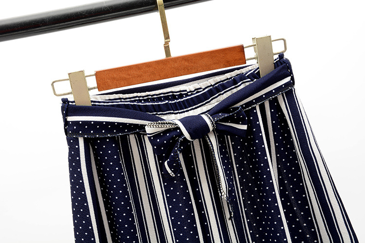 2019 Women Pants Summer New Striped High Waist Loose Pants Striped Straight Nine Pants Women 29