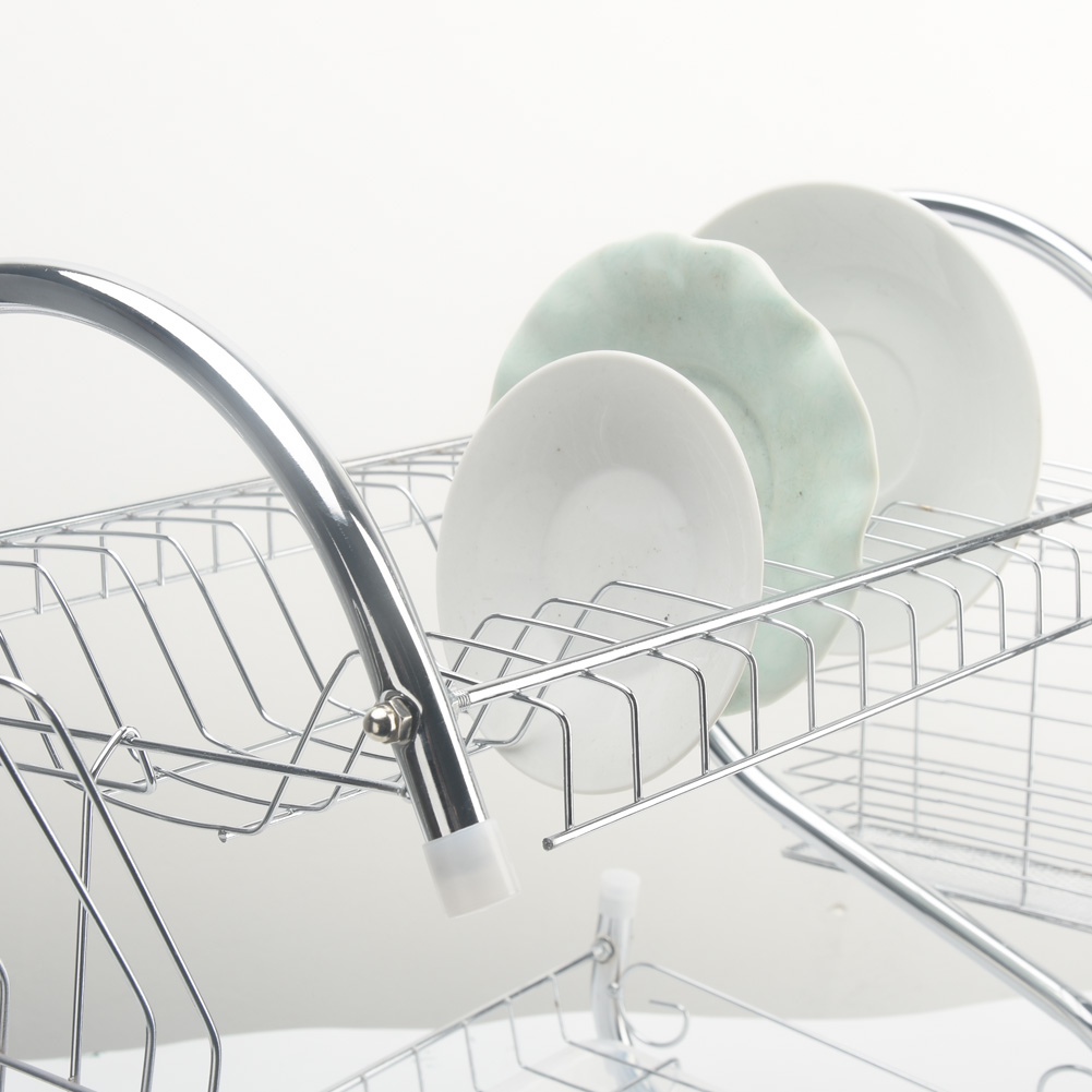 Image 5 - 2 Tiers Dish Drying Rack Holder Basket Plated Iron Home Washing Great Kitchen Sink Dish Drainer Drying Rack Organizer-in Racks & Holders from Home & Garden