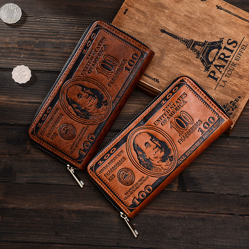Vintage PU Läder Män Plånbok Högkvalitativa Kreativa Dollar Mens - Plånböcker
