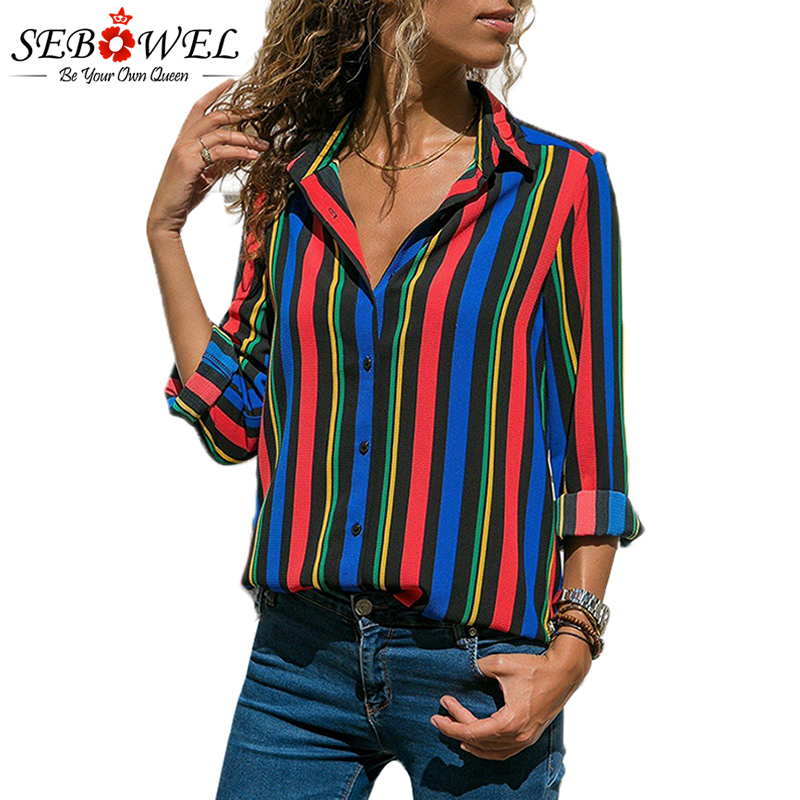 2018 Summer Striped Women Tops and Blouse Plus Size Casual Female Shirts Loose Office Ladies Workwear Blouse Shirts Tops SEBOWEL 3