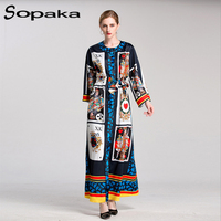 2017 Autumn Loose Floral Print Split Casual Long Dress XXXL Full Sleeve Sashes Cultivate Runway Designer