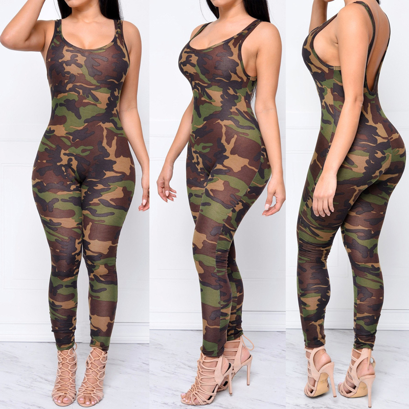2019 Sexy Girls Backless Playsuit Tights Printing Camouflage Rompers Rompers Bodysuit Deep V Neck Jumpsuits For Women