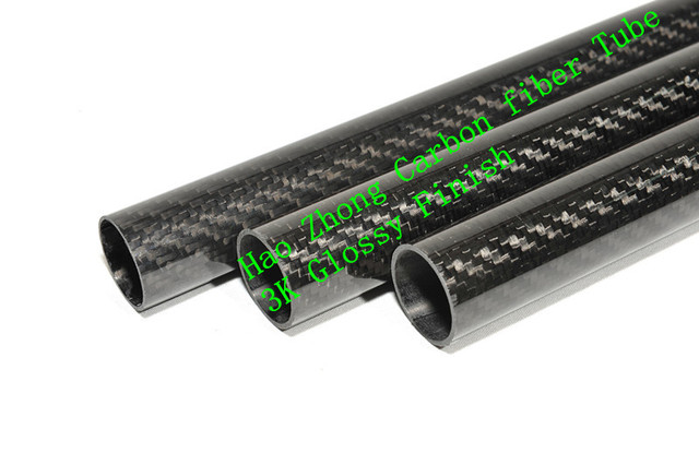 2 pcs 40MM OD x 38MM ID  x 500MM100% Roll 3k Glossy Carbon Fiber tube / Tubing , wing tube Quadcopter arm Hexrcopter 40*38
