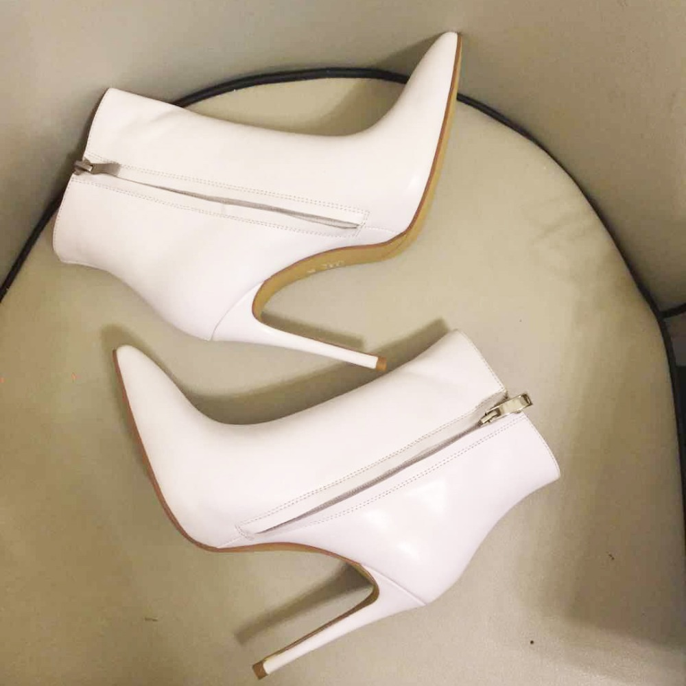 White Leather Ankle Boots Fashion Stiletto Heel Pointed Toe Shoes Plus Size Winter Boots for WomenWhite Leather Ankle Boots Fashion Stiletto Heel Pointed Toe Shoes Plus Size Winter Boots for Women