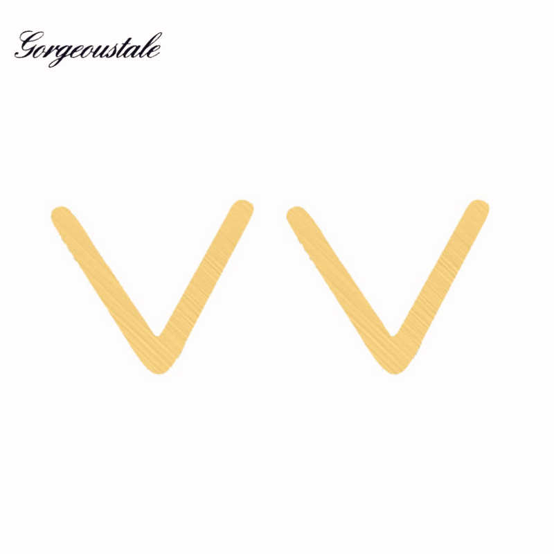 Minima Gold Color Chevron V Earrings For Women Boucle d'Oreille Stainless Steel Stud Earring Fashion Jewelry Party Gift