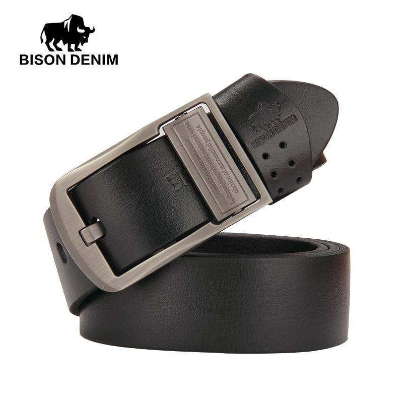 BISON DENIM 100 Top Layer Cowhide Belts for mens Luxury Genuine Leather Belt Cowskin BELT MAN