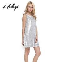 Hodoyi Fashion Sexy Silver Sequins Sleeveless Tank Dress Party Clubwear Cocktail Short Mini Dress O Neck