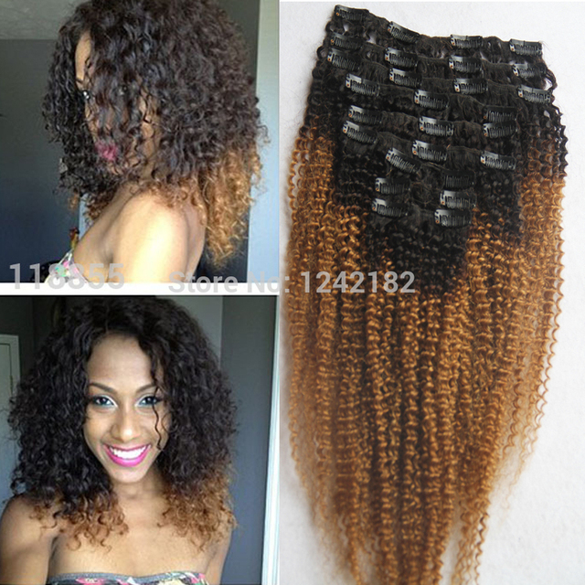 Two Tone T1b27 Color Ombre Clip In Hair Extensions 9pcs Virgin