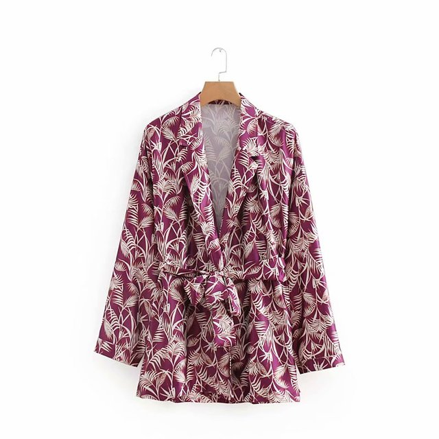 2018 Autumn Euro Style Leaf Print Waist Belted Women Suits Blazer feminino Vintage Contrast Color Notched Jacket Blaser