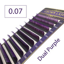 CrownLash 2tone Color Ombre Purple C D DD 0.07 7 15mm Dual Color Purple Volum Lash extension
