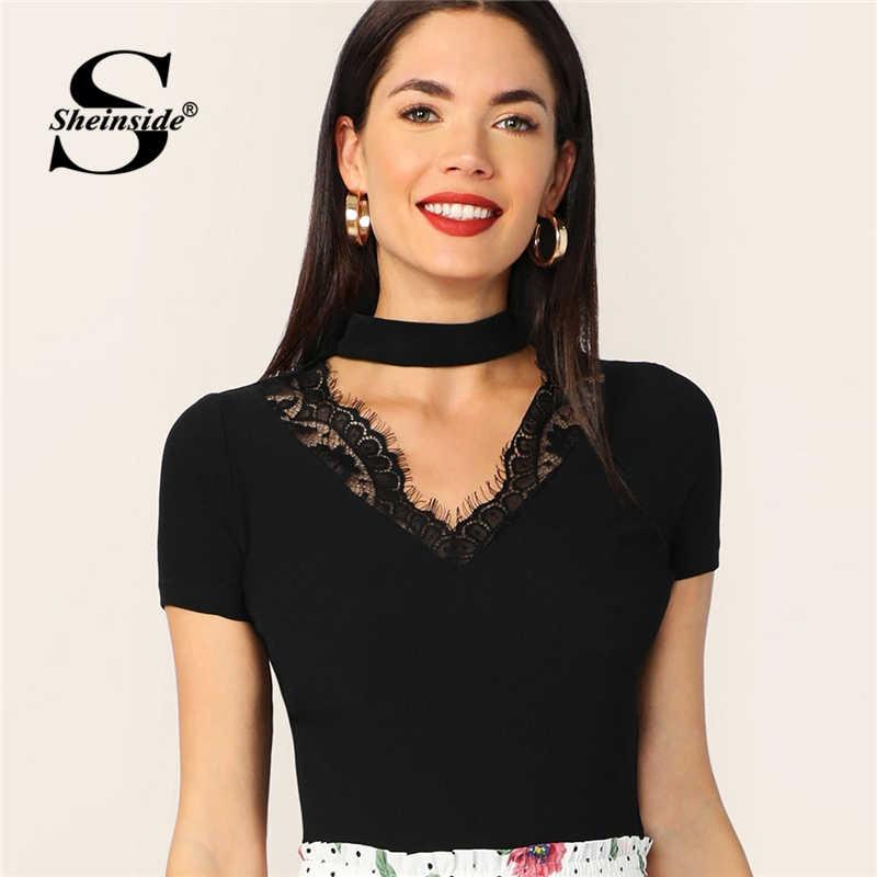 Sheinside Элегантная черная футболка с кружевной отделкой для женщин, облегающие Топы 2019, женская футболка, футболки с коротким рукавом