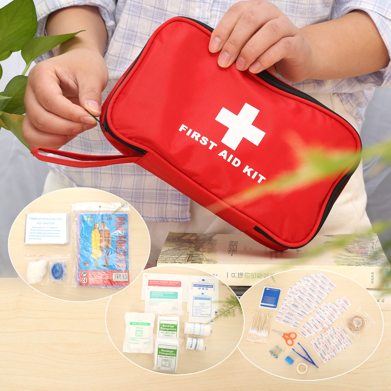 19 Kinds Sets (105pcs) Portable Outdoor First Aid Kits Medical Emergency Survival Kit Eva Pouch Treatment Bag For Family/Travel