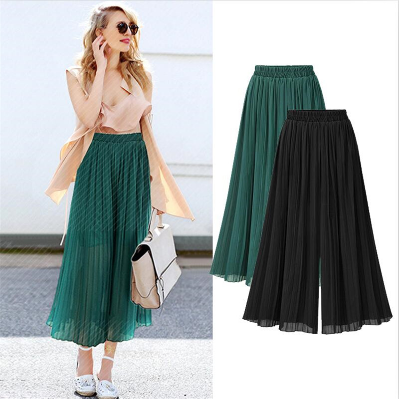 2019 Women Spring Summer vestido Loose Casual Pleated   Pants   Bohemian High Waist Solid Chiffon Ankle-Length   Pants     Wide     Leg     Pants