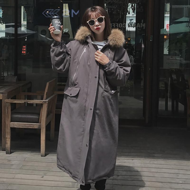 Surdimensionné Femmes Colour Coréenne Outwear Z163 Chaud Parkas Épaissir Capuche jaune Fausse 2018 Col Grand En caramel Longue Style À Hiver Rembourré Veste Fourrure Manteau orange Gris pqWU5