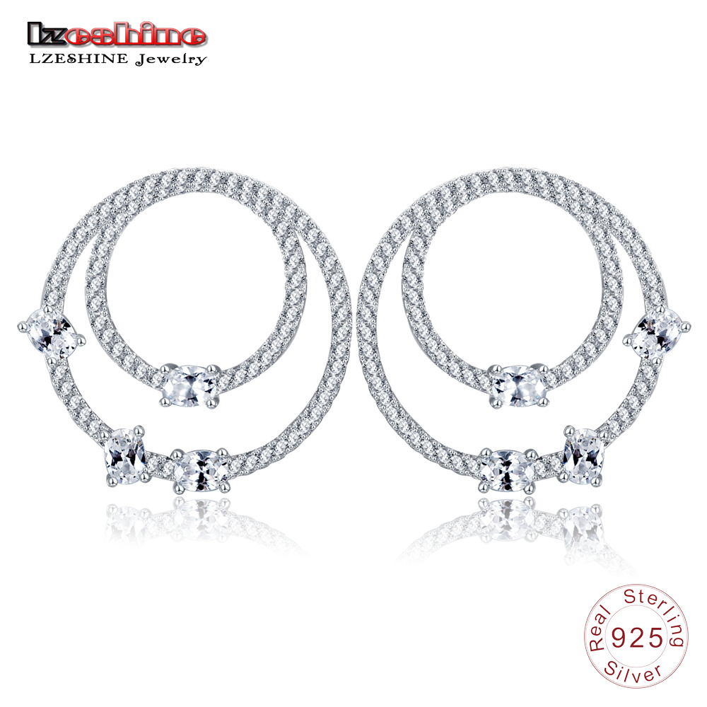 где купить LZESHINE 100% 925 Sterling Silver Circle Stud Earrings For Women With Sparkling Cubic Trendy Prom Jewelry Luxury Earrings T007 по лучшей цене