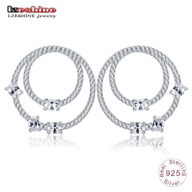 Lzeshine 100 925 Sterling Silver Circle Stud Earrings For Women With Sparkling Cubic Trendy Prom