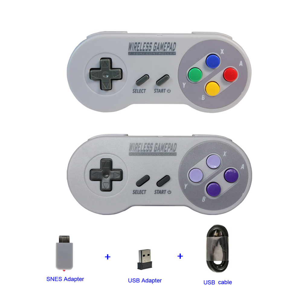 xunbeifang 2 in 1 2.4GHz Wireless Controller for SNES Classic Edition Mini for PC /ios/Android TV box Wireless Gamepad