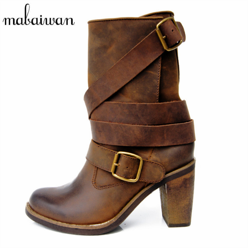 Mabaiwan Vintage Brown Women Genuine Leather Mid-calf Boots Chunky High Heel Boots Straps Botas Militares High Botines mabaiwan handmade rivets military cowboy boots mid calf genuine leather women motorcycle boots vintage buckle straps shoes woman