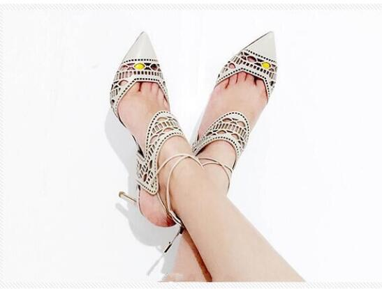 2017 Spring New Fashion Cut Out Apricot Leather Women Pointy Toe Pumps Ankle Straps Ladies Lace Up High Heels Slingback Shoes wholesale lttl new spring summer high heels shoes stiletto heel flock pointed toe sandals fashion ankle straps women party shoes