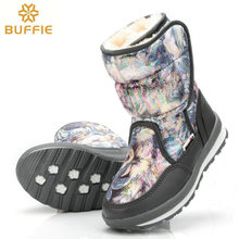 2017 new women snow boots winter warm boots grey colour flower boot anti-skid outsole plush fur plus size free shipping hot sell