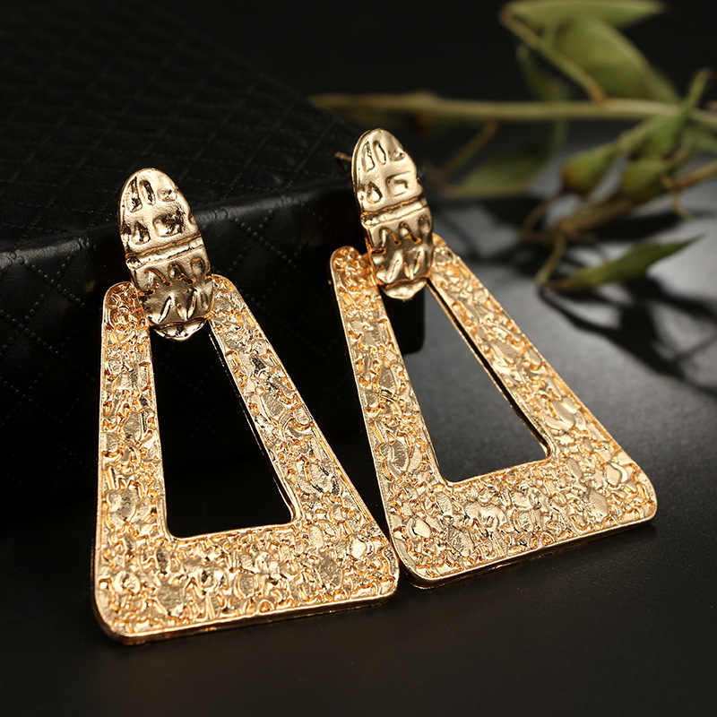 New Exaggerate Geometric Hollow Out Gold Color Big Metal Drop Earrings for Women Wedding Dangle Statement Jewelry Charm Brincos