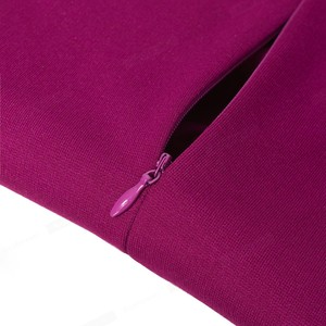 Image 5 - נחמד לנצח אלגנטי בציר מוצק צבע עגול צוואר עבודת כפתור vestidos המפלגה עסקי נדן משרד נשים Bodycon שמלת B499