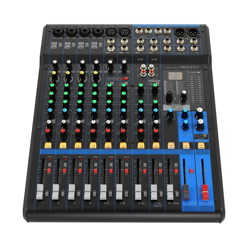 Finlemho DJ Mixer Audio Console MG12XU Professional Audio 48V Phantom Power For Power Amplifier Subwoofer Speaker
