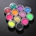12 Unids Colores de La Mezcla de Acrílico Del Arte Del Clavo Del Polvo Del Brillo Pigmento de uñas Cromo Decoración DIY de Manicura Para la Mujer Chica Virgen GUB #