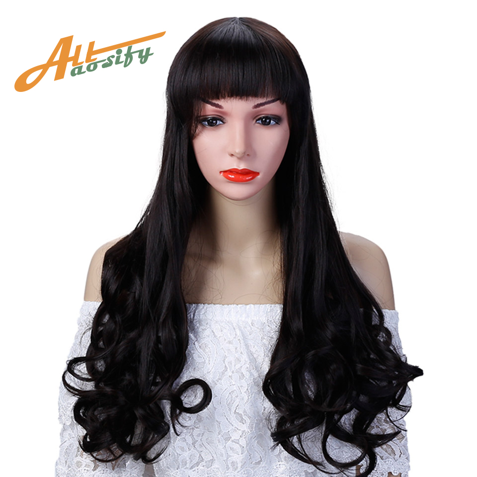 Allaosify Black long wavy wig Fibre filament Cosmetic wig 24 ...