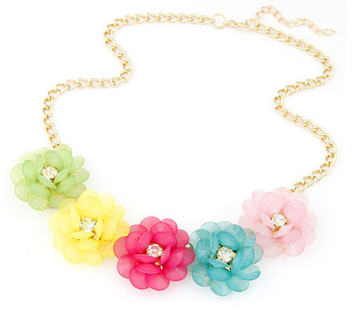4 colors Collier Femme Statement Jewelry Fashion cute Zinc Alloy Flower chain bib necklaces & pendants  For Woman Mujer Bijoux