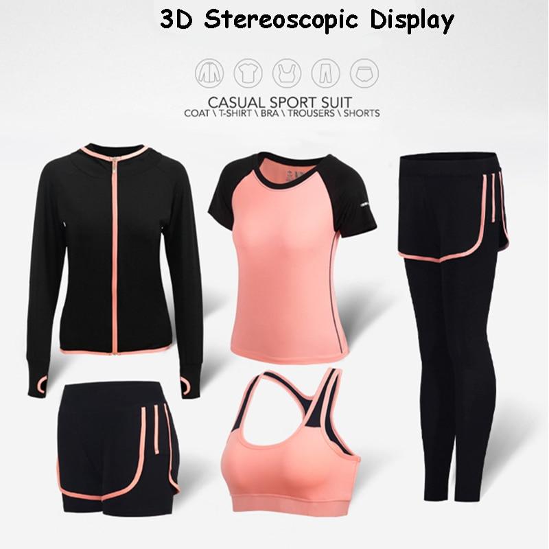 5 pièces tenues de Yoga Femmes vêtements de gym fitness Courir Survêtement soutien-gorge de Sport + Sport Leggings + Yoga Shorts + Top Set grande taille M-2XL