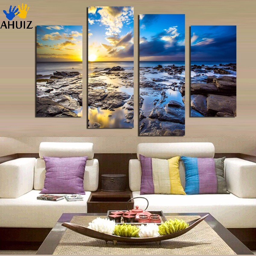 Framed Ready To Hang or with framed 5piece Printed Blue sea clound Painting Living room decor print poster picture canvas F1830