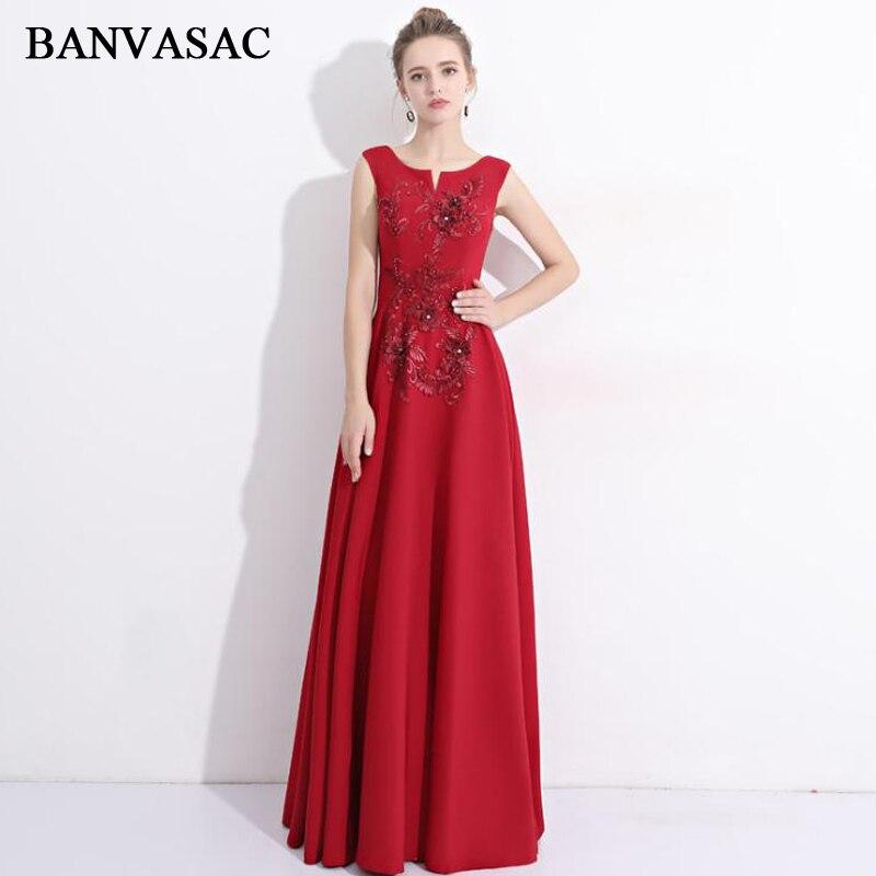 BANVASAC 2018 O cou cristal fleurs une ligne longues robes de soirée élégant broderie fête perles dos nu robes de bal