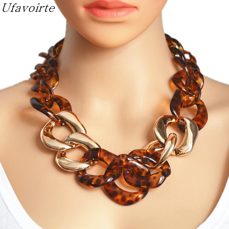 Ufavoirte Statement Necklace Chain Choker Resin Necklace Big Leopard Chain Necklace Fashion Exaggeration Jewelry Bar Women exaggerated enamel flower layered chain big imitation pearl necklace perfume women beaded chunky statement necklace
