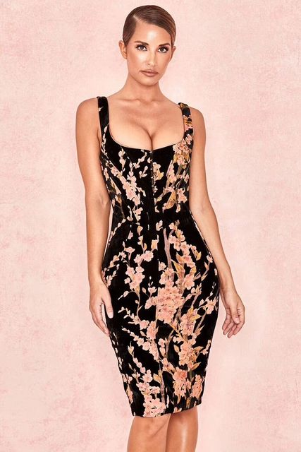 29cef09d3b 2019 new Black printed flower sling fashion elegant dress Sexy evening  Party Bodycon wholesale womens clothing autumn spring